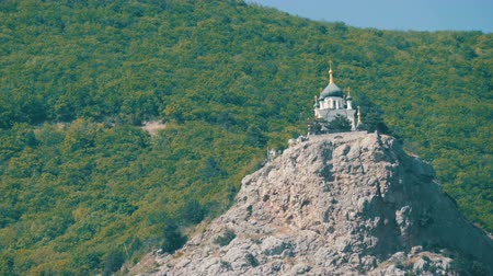 krym : View on a beautiful Foros Orthodox Church, which stands on top among the rocky and green Crimean mountains
