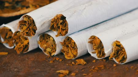 ilegální : Close up od homemade cigarettes or roll-up next to dry tobacco leaves stuffed with chopped tobacco