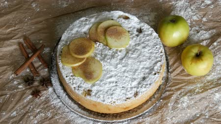 austrian : Delicious gingerbread apple pie charlotte. Traditional cinnamon and apple pie top view