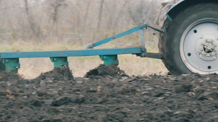 furrow : Blue Tractor with four furrow plough plowing field with black soil close up view