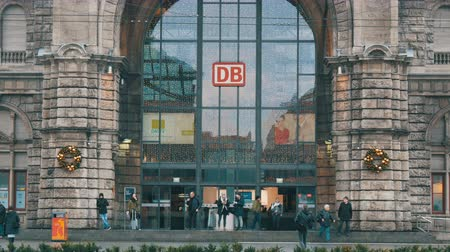 concourse : Nuremberg, Germany - December 1, 2018: Nuremberg Central Station. View of a main entrance with the logotype of the German railway