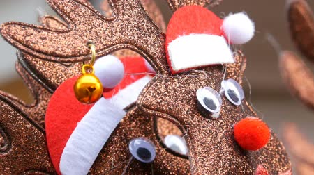 deer : New Year and Christmas hoops on the head in the form of deer in Santa claus hats and bell in the ear close up view. The spirit of Christmas and New Year