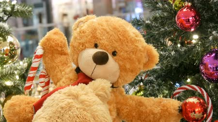 peluş : Teddy Bear as Christmas decoration in a shopping center Stok Video