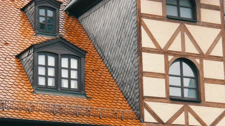 mediaeval : Typical national German houses in the city of Furth in style of fachwerk or half-timbered. Stock Footage