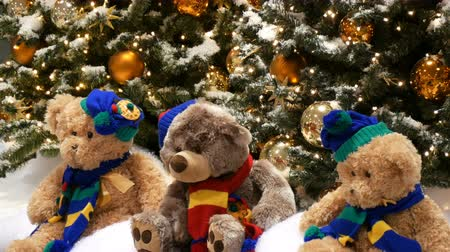 festoon : Three toy bears sit under Christmas trees, beautifully decorated with gold balls and garlands, in mall or shopping center.