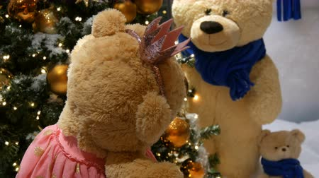 ぬいぐるみの : Princess toy brown teddy bear in a dress and crown spinning around in a Christmas-decorated shopping center 動画素材