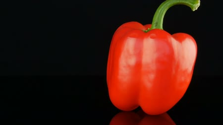 Beautiful big ripe red sweet pepper paprika rotating on a mirror surface and black background.