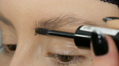 kaşları : Special brush for combing eyebrows. Professional makeup artist is combing the eyebrows of girl model Stok Video