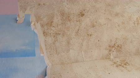 raspon : Man cleans or peels the wall from old wallpaper