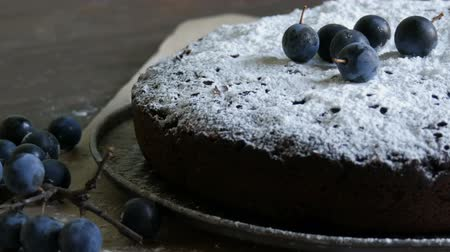 muffin : Chocolate cake brownie generously covered with powdered sugar stylishly lying next to the blue berries