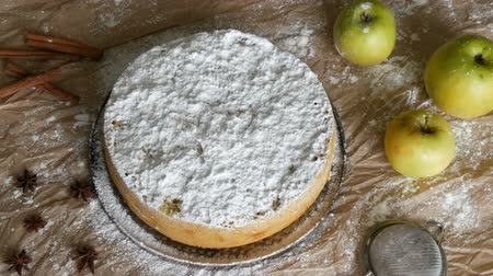 pastel de manzana : Delicious gingerbread apple pie charlotte. Traditional cinnamon and apple pie richly powdered powdered sugar