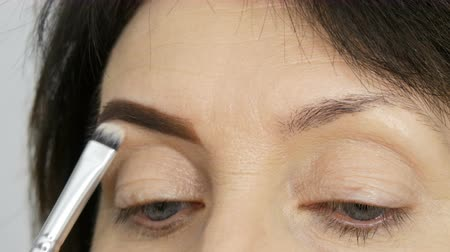 zvýrazňovač : A special brush paints eyebrows with eyebrow shadows. Close view. Professional make-up artist doing makeup to middle-aged adult woman with beautiful blue eyes. Dostupné videozáznamy