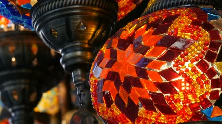 ramadan bazaar : Multi-colored Turkish mosaic lamps on ceiling market in the famous Grand Bazaar in Istanbul, Turkey