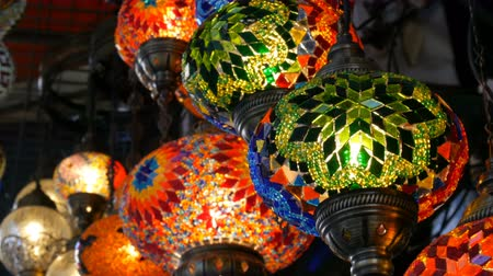 お土産 : Multi-colored Turkish mosaic lamps on ceiling market in the famous Grand Bazaar in Istanbul, Turkey