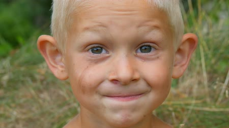 buta : Portrait of the grimy dirty face of a funny handsome blond boy in rural area. Childhood in nature