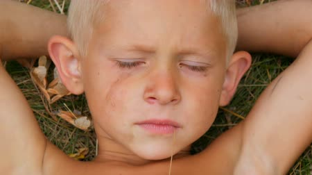 perverso : Portrait of a crying wicked five year old child blond boy with a dirty face lying on the grass with his hands behind his head and chewing a straw in village in summer day Vídeos