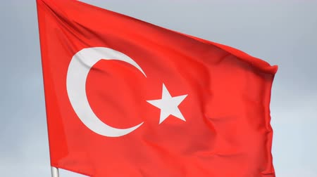 white cloths : Turkish National flag waves in the wind against sky Stock Footage