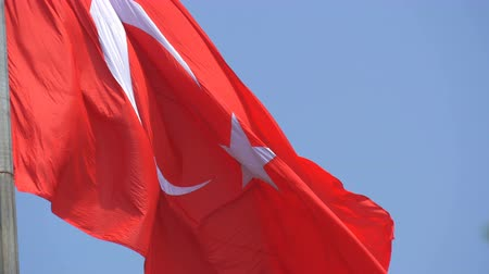 hilâl : Turkish National flag waves in the wind against sky Stok Video
