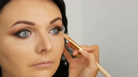 markeerstift : Portrait of a beautiful blue-eyed woman model with long black hair who is doing evening brown eye makeup and eyebrow with special brush