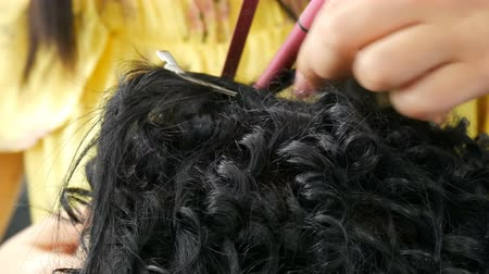 ondulação : Hairdresser stylist makes a special curl small curly hair with special curling iron Vídeos