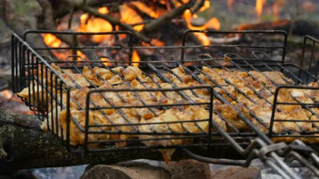 appetizing shish kebab : Meat grilling on barbecue grill on nature. Frying Fresh Meat, Chicken Barbecue, Sausage, Kebab, Hamburger, holiday. Man turns the grille