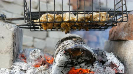 nedvdús : Meat grilling on barbecue grill on nature. Frying Fresh Meat, Chicken Barbecue, Sausage, Kebab, Hamburger, holiday