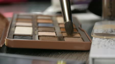 aplikatör : Palette of eyeshadow in brown tones. Special professional makeup brush takes eyeshadow close up view. High fashion industry backstage Stok Video