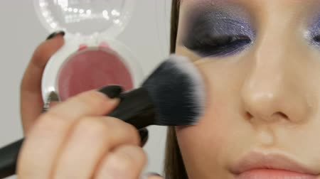 kızarmak : Makeup artist makes makeup girl model. Special brush applies pink blush on face of the girl in the beauty salon