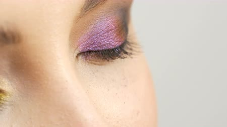 delineador : Fashionable multi-colored eye shadow chameleon with yellow purple gray silver color on the eyelid of beautiful girl model with brown eyes. Professional cosmetic makeup. Eye close up view