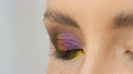 wizja : Professional stylist make-up artist makes eye makeup model. Face model with evening makeup close up view