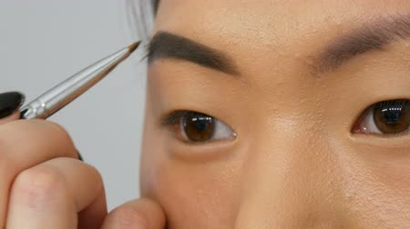 редактировать : Professional makeup artist paints eyebrows on the face of an Asian Korean woman model with special brush. Стоковые видеозаписи