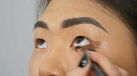 globo ocular : Professional make-up artist makes eye makeup of Korean girl Asian woman with special brush