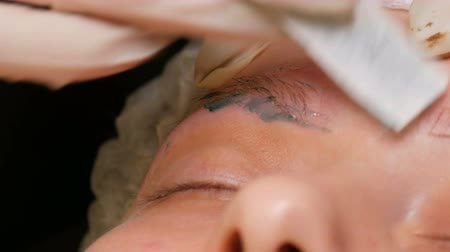 excesso de trabalho : Eyebrow Waxing. A special green wax is applied to skin to remove excess hair and shape the eyebrows.