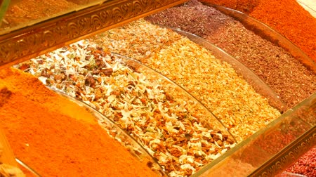souvenirs : Large variety of spice and tea on the counter of the Arab or Turkish market
