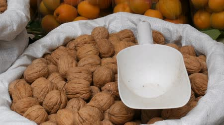 schroef : Large ripe walnuts in white bag on which lies a plastic spatula