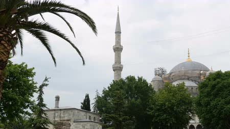 historical reconstruction : Reconstruction of world famous Blue Mosque in Istanbul, Turkey. Stock Footage