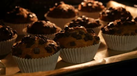 muffin : Delicious muffins in paper molds are cooked in oven close up view