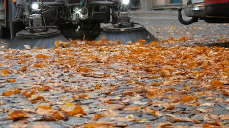 zametání : Close up view of Cleaning leaves Machine brush in the fall from the autumn street. Asphalt machine cleaning in Germany, Munich Dostupné videozáznamy
