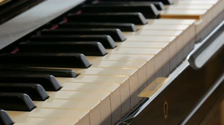 invisible : Self-playing piano. Black piano keyboard close-up.