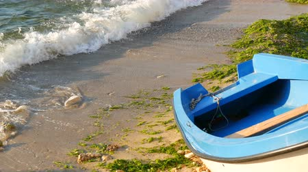 плавающий : Empty blue-and-white boat on the seashore on which are green algae thrown out after a storm. Waves with foam beat against the shore