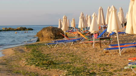 napágy : Luxury vacation at sea. Empty multi-colored sun loungers or sunbeds and folded beach umbrellas on resort beach