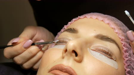 champ de coton : Beautician applies special wellness mixture on the client eyelashes close up view. A professional procedure for laminating and eyelashes modern healing. Vidéos Libres De Droits