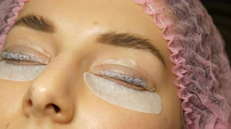 rolki : Special wellness botox mixture and molecular restoration on eyelashes close up view. Professional procedure for lamination and Botox eyelashes
