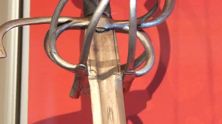 munitions : Medieval warrior sword. Part of medieval weapons as an exhibit in the castle museum.