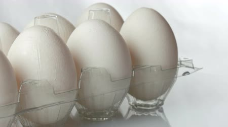 takes : Large white chicken eggs in transparent plastic tray on a white background