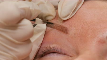 spraying : Improving the shape of eyebrows in a beauty parlor close-up view. Microblading, permanent make-up, permanent make up, powder spraying Stock Footage