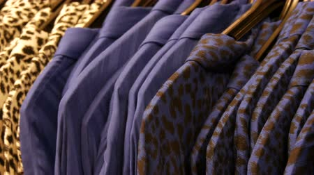 rastrelliera : Clothes with leopard print hanging on hanger in a womens boutique Filmati Stock
