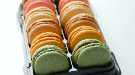 speciality : Colorful cake macaroon in gift box Stock Footage
