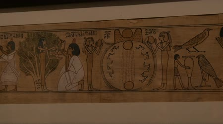 обряд : Vienna, Austria - December 19, 2019: Inside the Museum of the History of Art. Department of the History of Ancient Egypt. Authentic papyrus on which hieroglyphs are drawn Стоковые видеозаписи