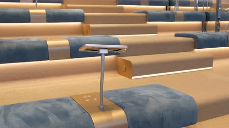空いている : Modern interior empty conference hall blue seats neat rows chairs vacant place audience auditorium listeners business public event formal meeting nobody inside education lecture seminar room renting